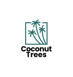 coconut tree palm logo icon vector image