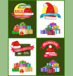 Collection of christmas sale promo stickers hats vector