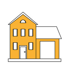 Color silhouette cartoon yellow facade two house vector