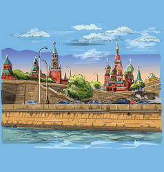 colorful hand drawing moscow-4 vector image
