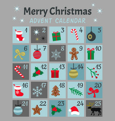 colorful mery chistmas advent calendar cute vector image