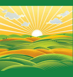 Countryside landscape fields and hills at dawn vector