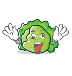Crazy lettuce character mascot style vector