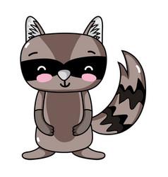 Cute and smile raccoon wild animal vector