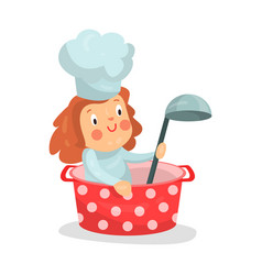 Cute cartoon little girl chef character sitting in vector