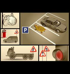 designer set for car parking vector image