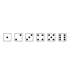dice icons set traditional die with six faces of vector image