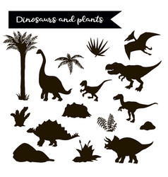 dinosaur black set with plants isolated vector image