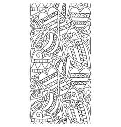 doodle hearts seamless border entangle vector image