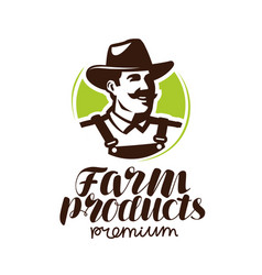 Farm products logo or label farmer icon vector