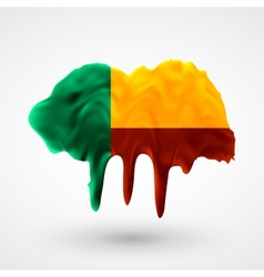 Flag of Benin painted colors vector image