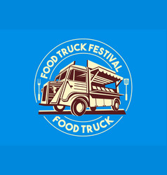food truck logo delivery service business vector image
