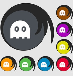 Ghost icon sign Symbols on eight colored buttons vector image