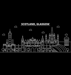 glasgow silhouette skyline scotland - glasgow vector image