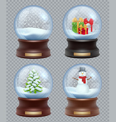 glass snow ball crystallizing magical christmas vector image