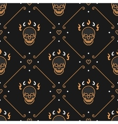 Gold skull seamless pattern Art Deco Dark vector