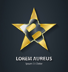 Golden star logo with the letter B inside Award 3d vector image