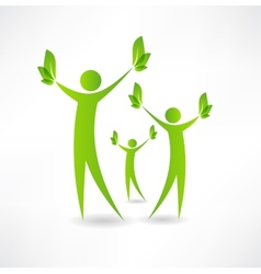 group people holding green leaves in hands vector image