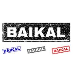 grunge baikal scratched rectangle stamp seals vector image