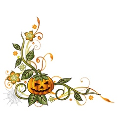 Halloween leaves pumpkin vector