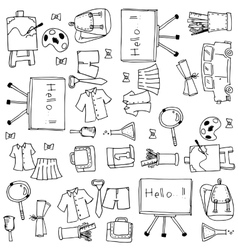 Hand draw school element doodles vector