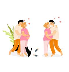 happy at home and pregnant loving couple hugging vector image