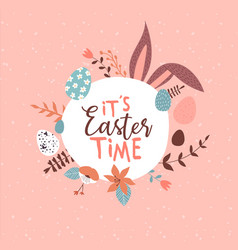 happy easter spring holiday quote with rabbit ears vector image
