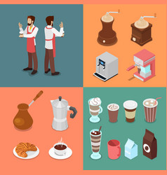 isometric bartender and cafe elements set vector image