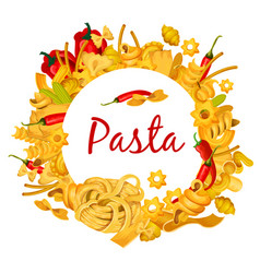 Italian pasta with chili pepper poster vector