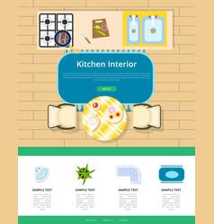 Kitchen interior design vector