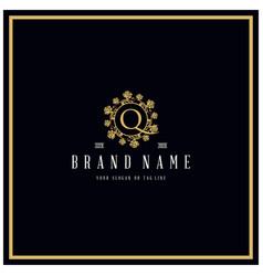 Letter q rose logo design concept ornament vector