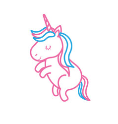 line beauty unicorn dancing with hairstyle design vector image