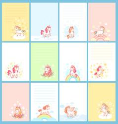 Magic cute unicorn cartoon template for birthday vector