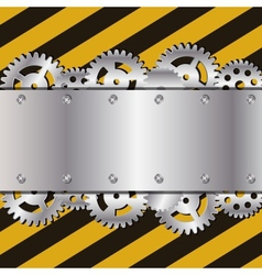 Metal frame on grunge striped cunstruction vector