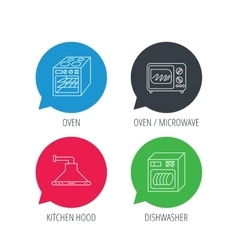 Microwave oven dishwasher and kitchen hood vector
