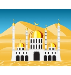 Mosque in desert vector