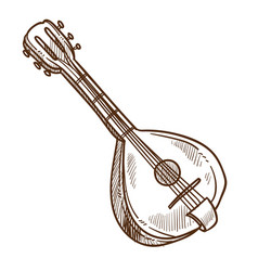 musical instrument domra isolated sketch folk vector image