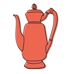 old asian tea pot hand drawn vector image