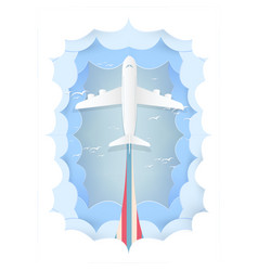 Paper art plane logistic travel concept vector