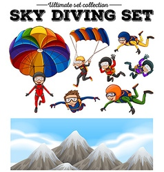 People doing sky diving and mountain scene vector