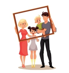 Portrait of happy family holding frame vector image