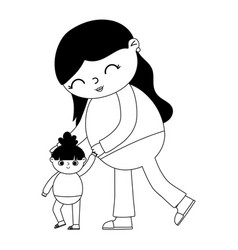 Pregnancy and maternity mother playing her little vector
