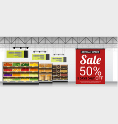 promotion sign in modern supermarket background vector image