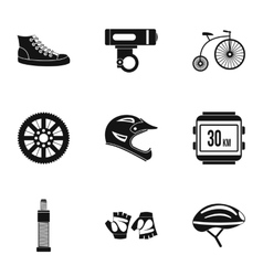 Race bike icons set simple style vector image