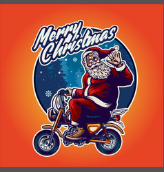 santa claus bikers heading merry christmas vector image