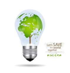 Save the world Light bulb with tree shaped world vector