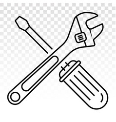 Screwdriver and wrench repair tool line art icon vector