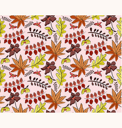 seamless autumn pattern with leaves vector image