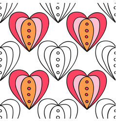 Seamless pattern with decorative hearts for vector
