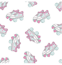 seamless pattern with quad roller skates on white vector image